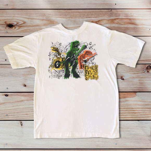 """TCP Comedy""""Rock of the ages""""Dinosaur Rock Band Tee"""